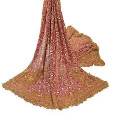 Sanskriti Vintage Purple Heavy Dupatta Pure Georgette Silk Hand Beaded Stole