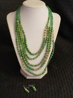 """Vintage Five-Strand Glass Bead 18"""" Necklace with Matching Earrings Used Lightly"""