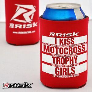 Risk Racing beer Koozie cozy Red humourous beer bottle can holder