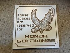 """Smooth Particle Board Carved Sign.  HONDA GOLDWINGS. Hand Made.  12"""" X 12""""."""