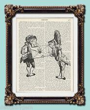 Alice In Wonderland Fish and Frog Footmen Vintage encyclopaedia print 10 x 8