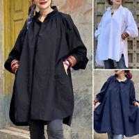 US Womens Long Sleeve Long Tops Shirt Dress Blouse Ladies Casual Tops Tunic Tee