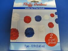 Red, White & Blue USA Patriotic July 4th Party Hanging Decoration Fluffy Garland
