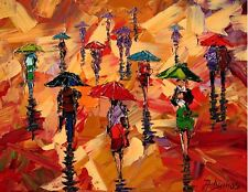 ANDRE DLUHOS City sidewalk rain urban people umbrellas ltd edition Art PRINT ..