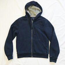Tommy Hilfiger Mens Small Navy Blue Fur Full Zip Hoodie Jacket Vintage Logo