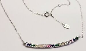 925  SILVER & 1/2 CT TW MICRO PAVE MULTI GEM RAINBOW CURVED BAR NECKLACE