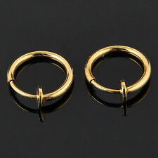 2pcs Unisex Punk JT Fake Nose Lips Ring Spring Clip Hoop Earring piercing Septum