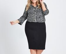 Plus Sizes Autograph Luxe Leopard Shirt 3/4 Sleeve With Pearl Broach Size 20