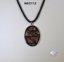 Wispy Bronze Oval  Handmade Van Gogh Glass Mosaic Necklace under resin NEC112