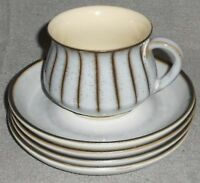 5 pc Set Denby STUDIO PATTERN 1 Cup/4 Saucers MADE IN ENGLAND