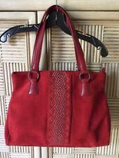 VIA SPIGA Purse Red Suede Leather Stud Trim Shoulder Handbag HOBO