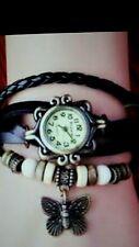 Cow leather strape wristwatch fashion vintage butterfly tag quartz watch women