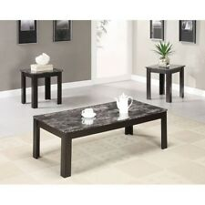 Coaster Contemporary Faux Marble Coffee & End Table 3 Piece Set 700375 New