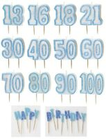 BLUE GLITZ - GLITTER MOULDED CAKE CANDLE (Birthday Party Decorations/Boy/Male)