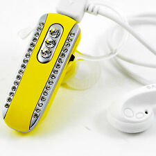 Yellow Crystal Bling Music Stereo Bluetooth Headset For iPhone Samsung Lg Nokia