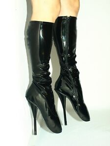 """BLACK OR RED PATENT LEATHER BALLET BOOTS SIZE 10-16 HEELS-8,5""""- PRODUCER- POLAND"""