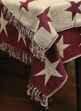 New Country Primitive Cotton Burgundy Star Woven Blanket Throw