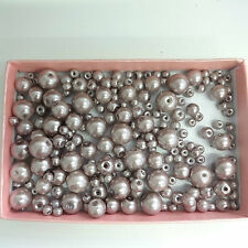 200 Assorted Sizes 4mm 6mm 8mm 10mm Glass Pearl Beads Platinum