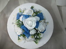 WEDDING FLOWER CAKE TOPPER, ROYAL BLUE & WHITE