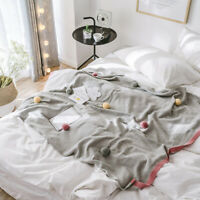 Gray Cotton Knitted Throw Sofa Bed Office Blanket Pom Pom Ball Nap Warm Blankets
