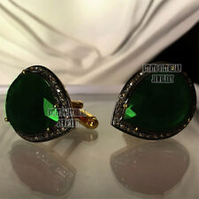 Victorian Estate 1.71Cts Rose Cut Diamond Emerald Silver Jewelry Men's Cufflinks