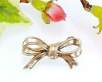 Antique Vintage Silver Gilt Gold On Silver Bow Ribbon Brooch
