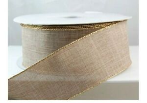 """1 metre 63mm (2.5"""") wide NATURAL LINEN BLEND GOLD EDGE WIRED RIBBON BOWS"""