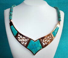Jay King DTR Copper and Turquoise Reversible V-Shaped Collar Necklace - Stunning
