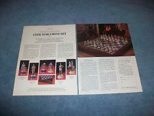 1986 Franklin Mint Civil War Chess Set Vintage 2pg Ad