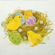 4x Paper Napkins -Chick & Eggs- for Party, Decoupage