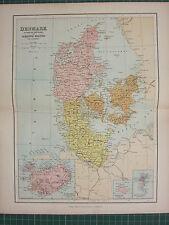 1869 ANTIQUE MAP ~ DENMARK SCHLESWIG-HOLSTEIN LAUENBURG ICELAND BORNHOLM FAROE