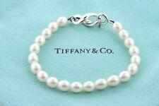 Tiffany & Co. 1999 Sterling Silver Freshwater Pearl Infinity Lock Bracelet - 6.5