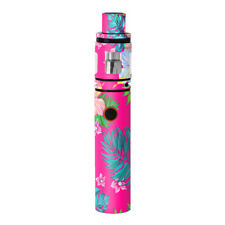 Skin Decal for Smok Stick V8 Vape / Pink Neon Hibiscus Flowers