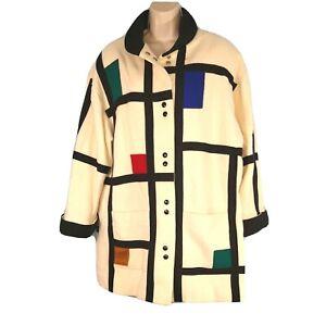 Vintage Herman Kay Snap Up Coat Jacket Women Size L/XL Mondrian Art Color Block
