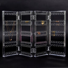 4 Fold Earring Necklace Holder Display Stand Organizer Jewelry Show Rack Case