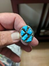 VINTAGE Sterling Silver / Turquoise Men's Ring  Size 11.5