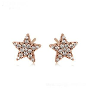 """9k 9ct Rose  """"GOLD FILLED"""" Unisex Star stud Earrings with white stones 8mm Gift"""