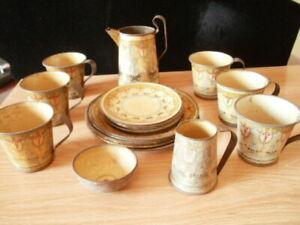 Vintage 22 Piece Lithograph Tin Tea Set - Pitchers, Bowl, Cups, Plates, etc.