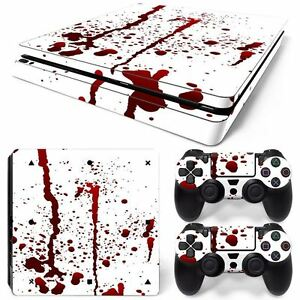 For PS4 Slim Console & 2 Controllers Decal Splatter Vinyl Skin Wrap