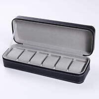 6 Slots Watch Pouch Bag Organizer Watch Box Display Case Travel Jewelry Leather