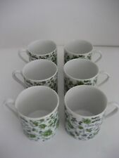 "SET OF SIX, Small Tea / Coffee Cups, Green Flowers, Japan, 2-3/4"" Tall"