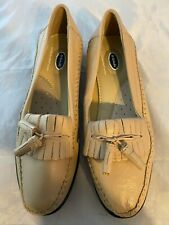 NEW DR. SCHOLL'S Double Air Pillo Beige Leather Kiltie Tassel Loafer, Size 7.5 M