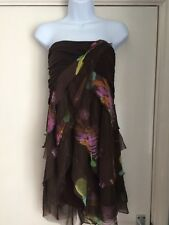 PER UNA size 10 brown floral strapless boob tube lined style mini dress ladies