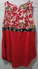 CAbi Tunic Top Womens L 100% Silk Red Floral Butterfly Drawstring Tie Sleeveless