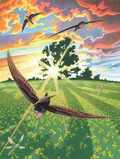 """David alderslade """"tres vencejos"""" paisaje de Wiltshire Fauna Aves Pintura"""