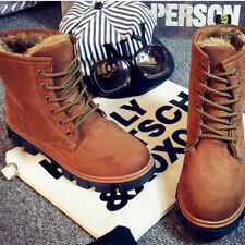 Work Women's Winter Warm Casual Leather Fur Lace up Outdoor Snow Boot lauR #010