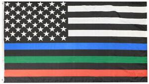 USA Thin Red Blue Green Line Premium 100D Woven Poly Nylon 5x8 5'x8' Flag Banner