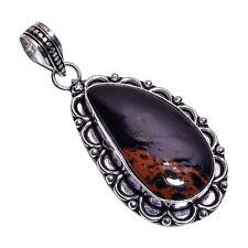 PLATA DE LEY Capa hecho a mano MARCONI Obsidiano Colgante nlg-422 chapado en