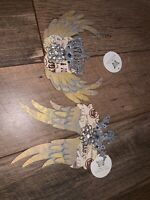 Angel Wings Flower Christmas Ornament Vintage Rhinestone Glitter Crown Gold Set