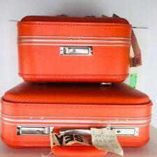 Orange Luggage Suitcase Travel Set Train Set Vanity Case American 1950s - 1960s
